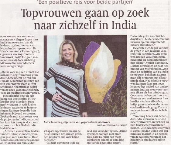 Artikel Haarlem Dagblad: Topvrouwen gaan op zoek naar zichzelf in India