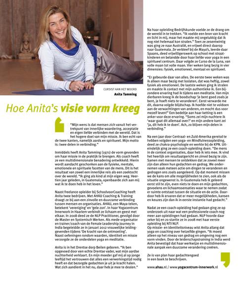 Artikel tijdschrift NTI NLP: Hoe Anita's visie vorm kreeg
